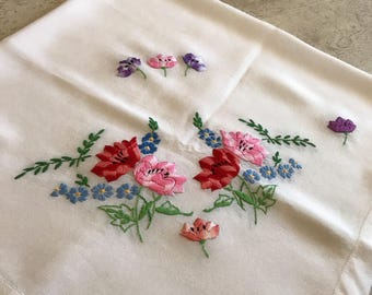 Pretty vintage hand embroidered tablecloth