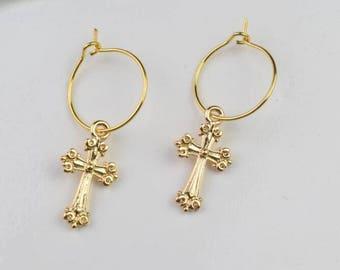 gold hoop earring cross hoops huggie earrings simple earrings everyday/gift for her
