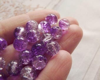 10x Purple Beads, Crackle Glass Beads, 8mm Marbles Cracked Glass Beads, Purple Crackled Glass Beads, Spacer Beads, Beading Supplies