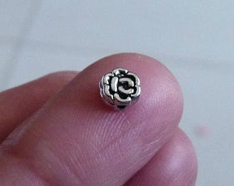 Flower Beads, Rose Beads, Flower Spacer Beads, Tiny Floral Beads, Metal Beads, Antique Silver Tone Beads, Beading Supplies