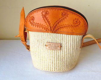 Brown leather crossbody bag,African sisal crossbody bag, small crossbody bag, crossbody leather bags, white crossbody bag.