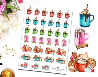 WINTER DRINKS/Hot Chocolate/Coffee/Hot Drinks Planner Stickers/Functional Icons/Icon Sticker for Erin Condren Planner/Happy Planner/TN