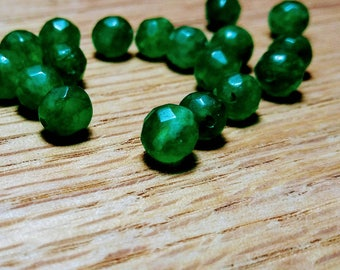 Small Green Onyx Faceted Round Gemstone Beads, 6mm, 19ct.