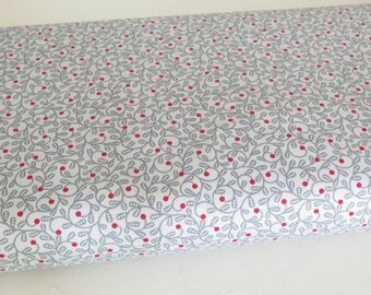 1 yard Nancy Halvorsen Bree Swirl Gray with red berries, quilt shop cotton, Benartex, Art to Heart