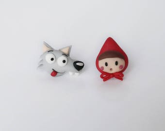 Little Red Riding Hood & Wolf - tiny stud earrings