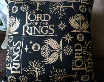 Lord of the Rings, black and gold, square throw pillow.