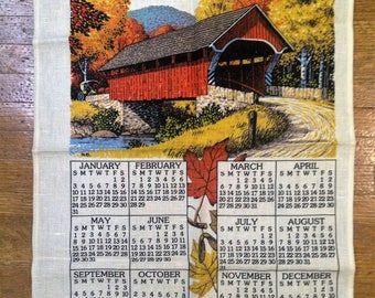 Vintage 1988 Calendar Tea towel, Covered bridge in Autumn