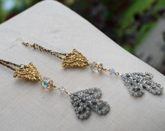 HOLLYWOOD GLAMOUR - Vintage gold and rhinestone, shoulder-dusting earrings