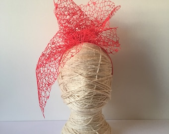 Red Mesh Lace Modern Headpiece with Vail design - Floral Headwear Fascinator