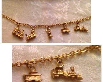 Anniversary Sale Cool Vintage Goldtone Train Charm Bracelet