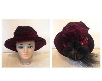 Anniversary Sale Antique Victorian Velvet Hat with Flowers