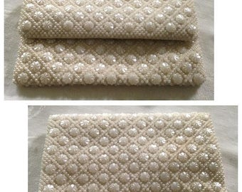 Anniversary Sale Vintage White Beaded Clutch Bag