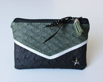 Wallet / victory Khaki, black and silver leatherette card holder