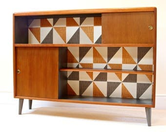SOLD Unique Upcycled Mid Century Bookcase/Cabinet Featuring Striking Geometric Pattern