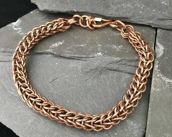 Full Persian chain mail bracelet / chain maille bracelet / copper chainmaille bracelet / mens rustic copper bracelet / bracelet for Him