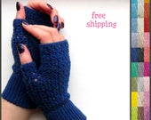 Knitted gloves, Hand crochet gloves, Blue knit gloves, Half finger gloves, Crochet finger gloves, Blue knit armwarmers, Fall knit gloves.