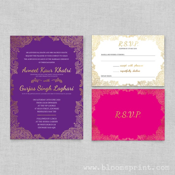 indian Wedding Invitations gold, Hindu wedding invitations templates, Wedding invitations cheap, Wedding rsvp cards with envelopes