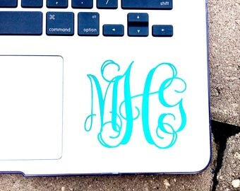 Monogram Sticker for Computer | Monogram Decal | Decal for MacBook | Laptop Decal | Personalized Monogram | Laptop Monogram | Monogram Decal