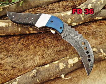"Damascus steel 7"" long Kukri Folding Knife, Lamb horn with colored steel scale, custom made 3"" Hand Forged blade,"