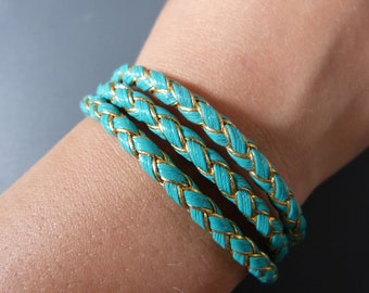Navy leather bracelet, gold & turquoise