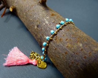 Blue & gold seed bead chain anklet