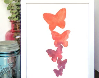 Ombre Butterflies, Watercolor Print, Home Wall Art, Kids Room Decor, Shower Gift, Birthday Gift, Wedding Gift, Watercolor Painting