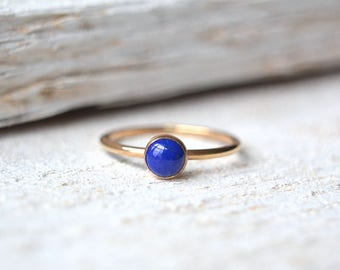 14k Solid Gold Lapis Lazuli Ring. Lapis Ring, Lapis Lazuli Ring, Stacking Ring, Blue Gemstone Ring, 14k Solid Gold Lapis Ring