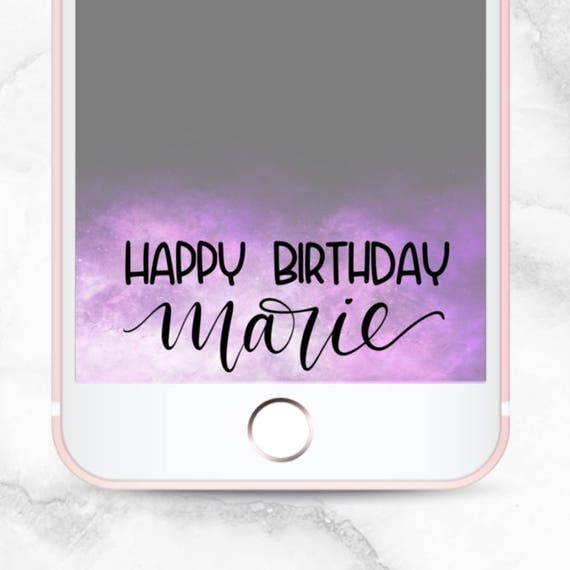 Calligraphy unicorn birthday snapchat