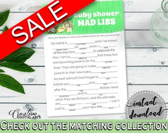 Mad Libs Baby Shower Mad Libs Rabbit Baby Shower Mad Libs Baby Shower Rabbit Mad Libs Green White party decor, party decorations 4N0VK