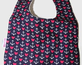 Baby Bib Anchor Heart Navy