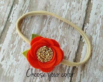 Baby headband, flower headband, felt flower headband, red flower headband, soft nylon headband, gold flower headband