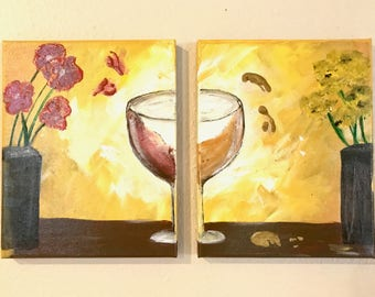 Wine Glass Duet Canvas Panel Painting
