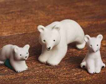 Polar Bear figurine Soviet Vintage Xmas Christmas Gift Mini animal statue White miniature woodland sculpture home decor totem small animals