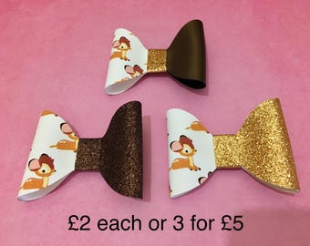 Bambi collection large hair bows with glitter on a crocodile clip