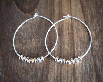 Silver And Gold Hoops / 9ct Gold Hoops / Silver Hoops / Silver Hoop Earrings With Gold Beads