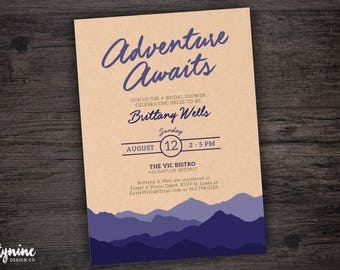 Adventure Awaits Theme Bridal Shower Invitation with Purple Layered Mountain Landscape