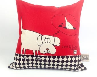 Decorative pillow / dog cushion / red and black/animal cushion / great quality fabric / washable/made-hand/18-13