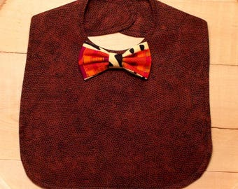 Brown Honeycomb Print Infant Bib with African Kente Print Bow Tie