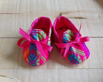 Pink Mexican Sarape Print Baby Booties