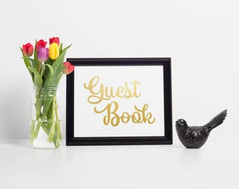 Gold Foil Guest Book Sign, Wedding Guest Book Sign, Gold Guest Book Sign, Wedding Sign In Book, Guest Book Alternatives, Guest Book Wedding