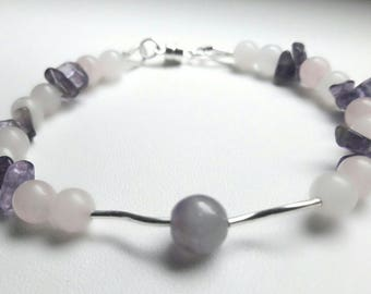 Bracelet Rose Quartz and Amethyst & 925 sterling silver, silver beads, natural stones.