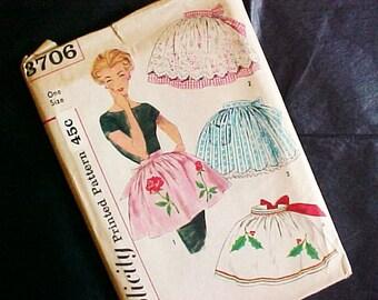 Vintage 1960s Half Apron Pattern UNCUT Simplicity 3706 One Size w/transfers