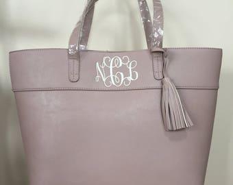 Monogrammed Handbag, Monogram Purse, Personalized Handbag, Purse with Tassel, Monogram Tote, Monogram Gift, Bridesmaid Gift, Shoulder Bag