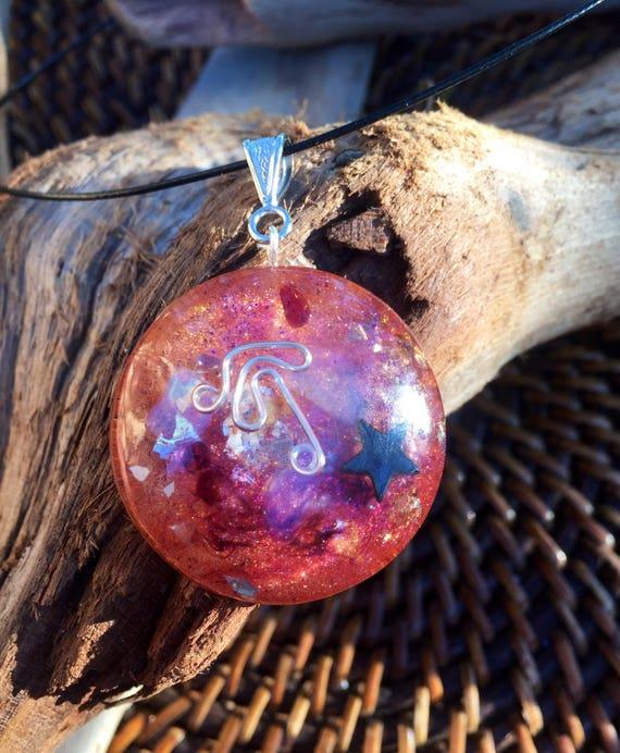 Sun and Moon Orgonite® Healing Pendant- Pagan Orgone- Witches Orgonite® Amulet-For Spiritual Protection/Awakening- White Magic Orgonite®