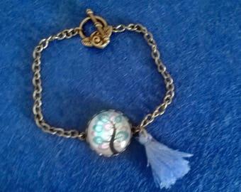 Bracelet bronze multi-color tree of life blue pompom