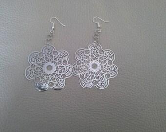 Earrings rose Silver earrings
