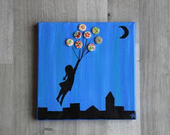 little girl with balloons picture buttons