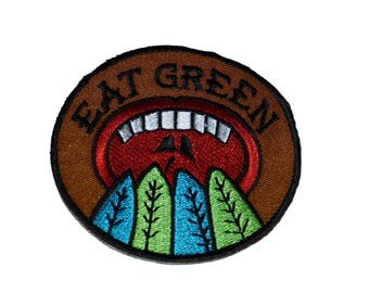 Aufnäher/Bügelbild-Eat Green Mund – Braun – Ø 6.9 cm-by catch-the-Patch ® patch Aufbügler Applikationen zum Aufbügeln Applikation Patches Flicken