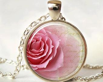 Rose necklace - flower necklace - rose pendant - rose jewelry - roses necklace - bridesmaid necklace - rose charm necklace - floral necklace