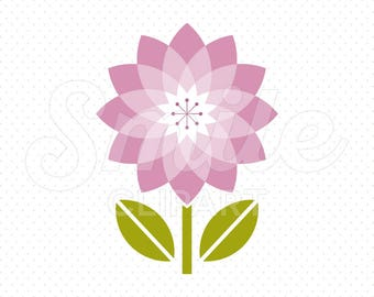 PURPLE LOTUS FLOWER Clipart Illustration for Commercial Use | 0065